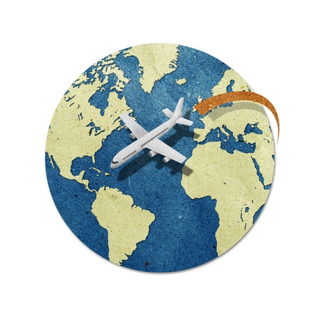 old plane: airplane travel around the globe recycled paper craft