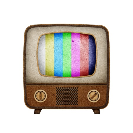 Television ( TV ) icon recycled paper stick on white background photo
