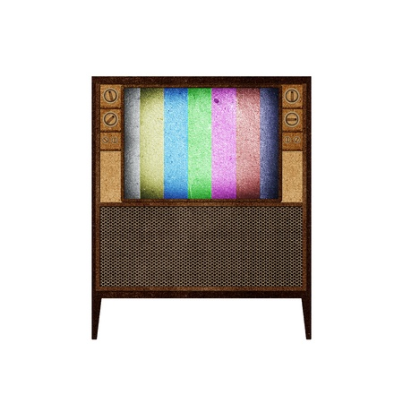 Television ( TV ) icon recycled paper stick on white background Stock Photo - 9648354