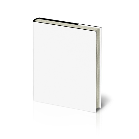mag: Blank book with white cover on white background.