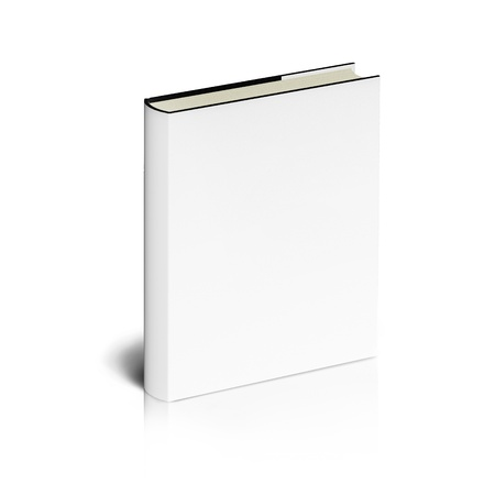 encyclopedias: Blank book with white cover on white background.