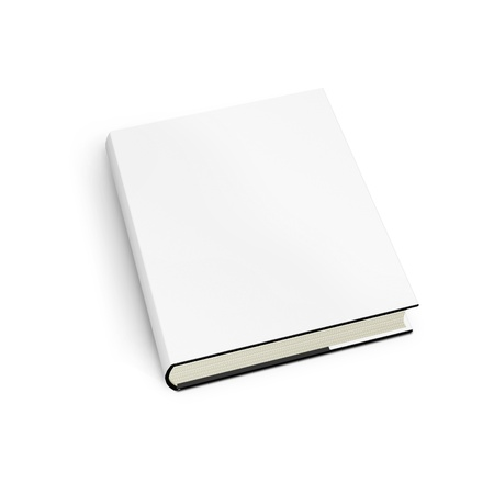 Blank book with white cover on white background. Stock Photo - 9648225