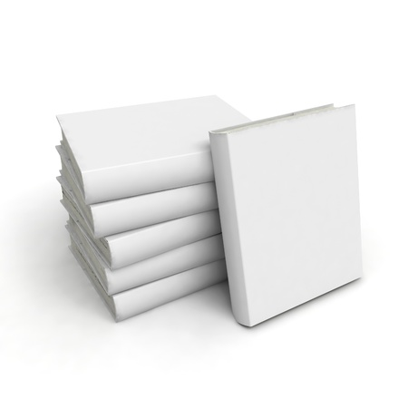 Blank book with white cover on white background. Stock Photo - 9648261