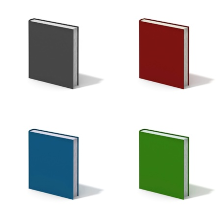 Blank book with color cover on white background. photo