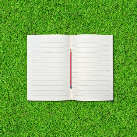 Blank notebook and pencil on Green Grass background. photo
