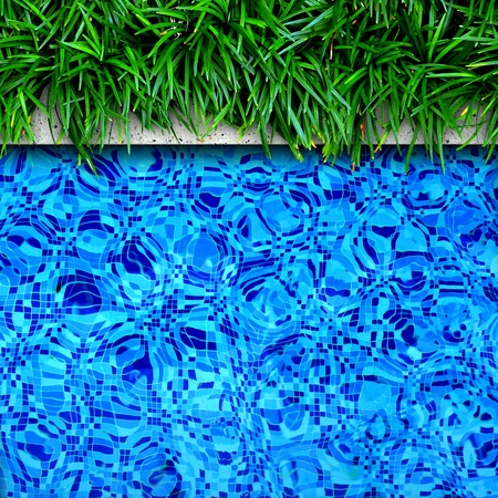 Fresh green grass on pool edge background photo
