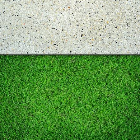 Fresh green grass on concrete background photo