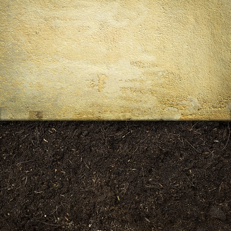 dirt background: concrete and soil background Stock Photo