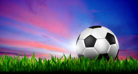 soccer grass: football in green grass over a twilight sky Stock Photo