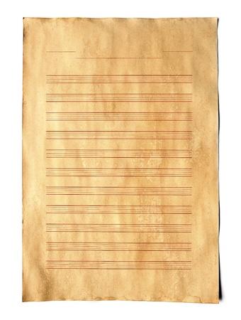 Vintage Music score paper on white background. Stock Photo - 9648104