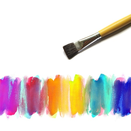 brush and Abstract watercolor hand painted background photo