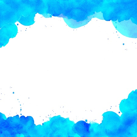 Abstract blue watercolor hand painted background photo