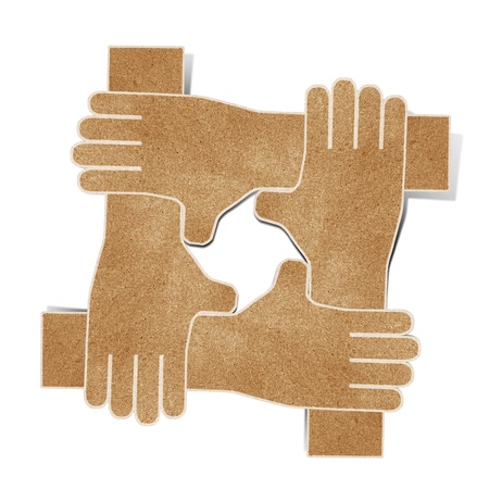 hands recycled paper craft stick on white background Stock Photo - 9701921