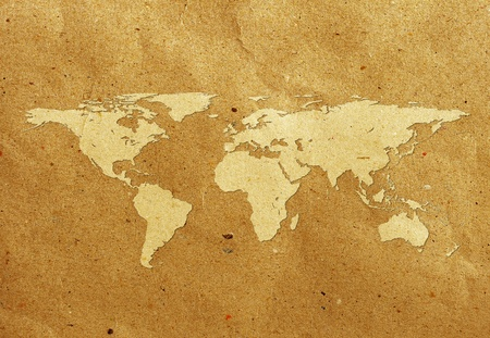 world map screen on recycled paper Stock Photo - 9702212