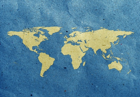 old world map: world map screen on recycled paper Stock Photo