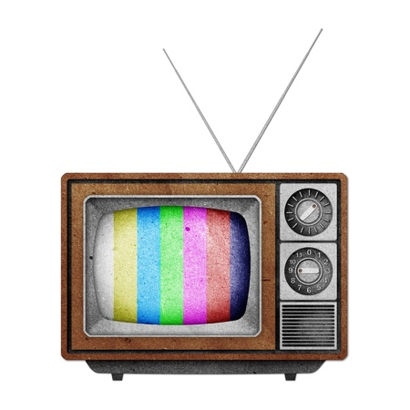 Old vintage TV recycled paper on white background photo