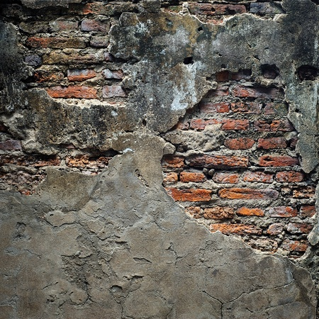 Old weathered brick wall photo