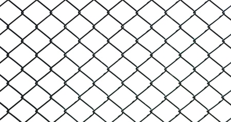 wire mesh: iron wire fence isolated on white background Stock Photo