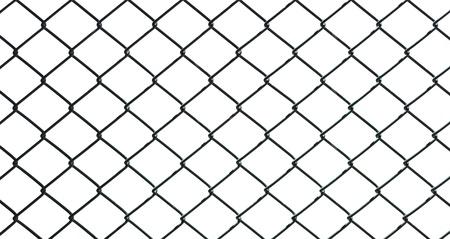 malla metalica: valla de alambre de hierro aislada sobre fondo blanco Foto de archivo