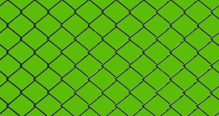 iron wire fence isolated on green background Stock Photo - 9702349