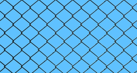 iron wire fence isolated on blue background photo