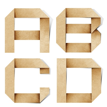 Origami alphabet letters recycled paper craft stick on white background Stock Photo - 9702486