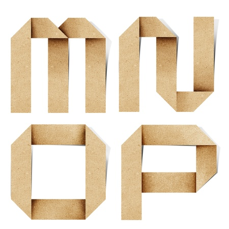 recycled paper: Origami alphabet letters recycled paper craft stick on white background Stock Photo