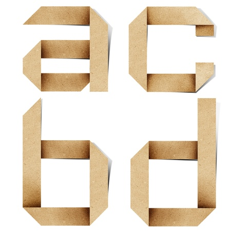 craft material: Origami alphabet letters recycled paper craft stick on white background Stock Photo