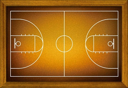 basketball court in the wooden frame. Stock Photo - 9702602