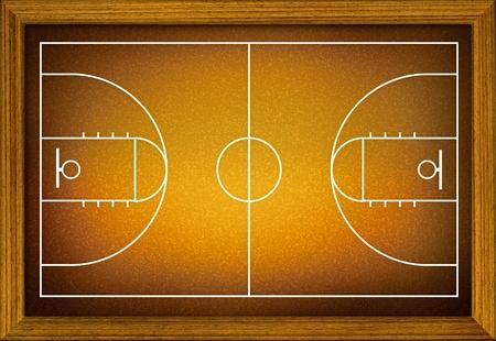 terrain de basket: terrain de basket-ball dans le cadre de bois. Banque d'images