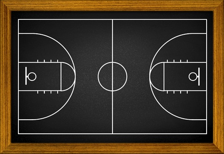 concrete block: basketball court in the wooden frame. Stock Photo