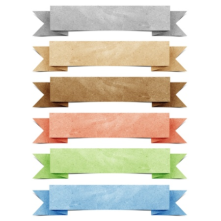 Header origami tag recycled paper craft Stock Photo - 9702629