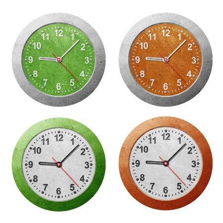 Wall clock recycled paper craft Stock Photo - 9850256