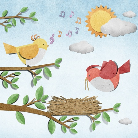 bird recycled  paper craft photo