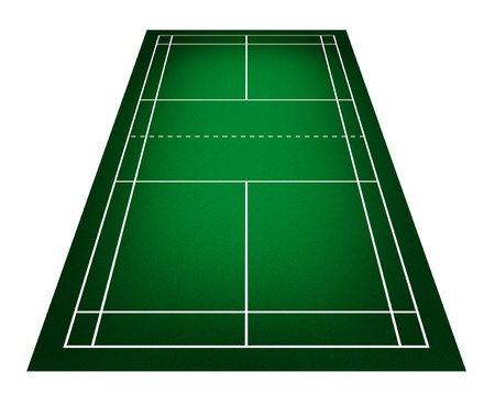 shuttlecock: Illustration of badminton court. Stock Photo