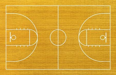 terrain de basket: terrain de basket sur fond de bois. Banque d'images