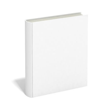 hardcover: Blank book with white cover on white background.