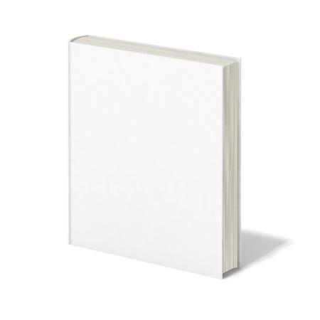hoja en blanco: Libro en blanco con tapa blanca sobre fondo blanco.