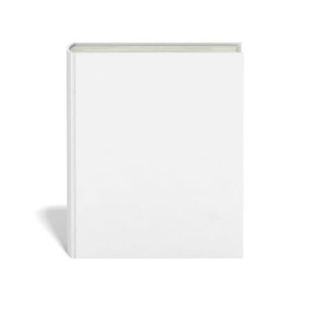 book cover design: Blank book with white cover on white background.