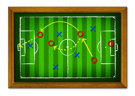 tactics: Tactics Soccer in the wooden frame.