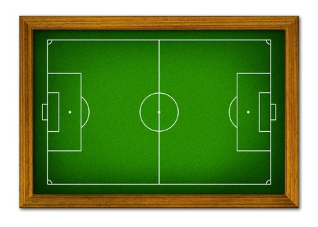 plywood: Soccer field in the wooden frame. Stock Photo