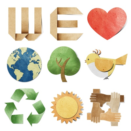 we love tag recycled paper craft Stock Photo - 9850643