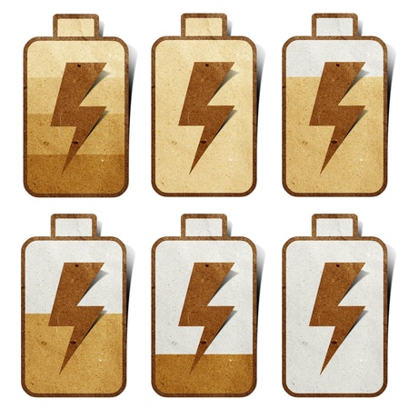 Battery Charging icon recycled paper craft Stock Photo - 9850677