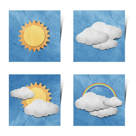 cut paper: Weather recycled paper craft stick on grunge paper background