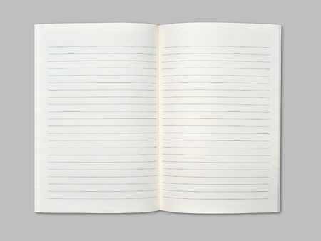 Blank notebook on middle gray background. Stock Photo - 9971638