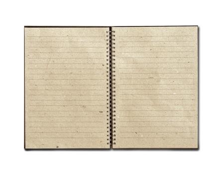 journal intime: isol� portable ouvert de papier recycl� sur fond blanc