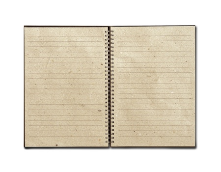 old diary: isolated recycled paper open notebook on white