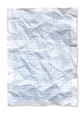 Wrinkled Blue graph paper. photo