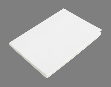 blank magazine: Blank book with white cover on white background.