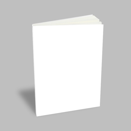 Blank book with white cover on white background. Stock Photo - 9971581